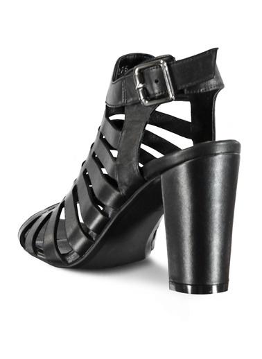 Marjin %100 Deri Topuklu Ayakkabı Siyah